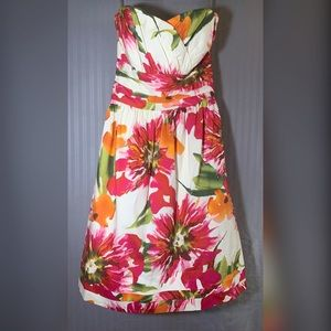 Floral Strapless Semi Formal Dress
